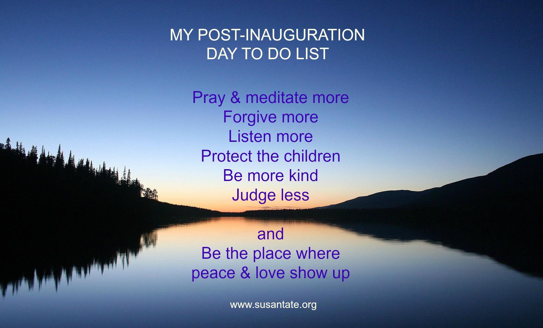 My post-inaug to do list
